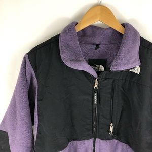 North Face Mixed Media Purple Fleece Zip Up Jacket
